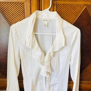 WHBM button down white top sz 6